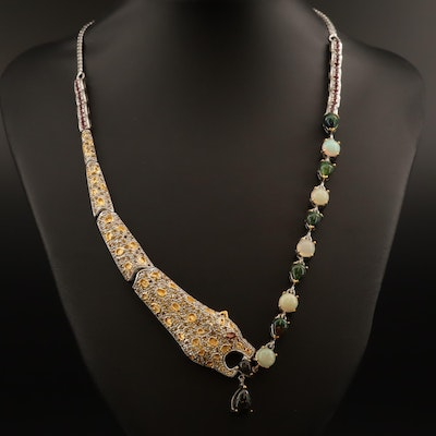 Sterling Opal, Garnet and Fancy Color Sapphire Leopard Motif Necklace