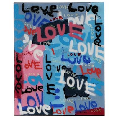 R.C. Raynor Grafitti Style Mixed Media Painting, 2020