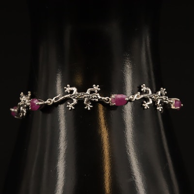 Sterling Silver Ruby and Marcasite Gecko Motif Link Bracelet