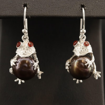 Sterling Pearl and Ruby Frog Dangle Earrings