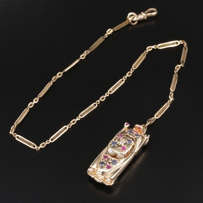 Vintage 14K Gold Ruby, Sapphire, Zircon and Seed Pearl Car Fob with Watch Chain