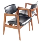Pair of Gunlocke Mid Century Modern Walnut Armchairs