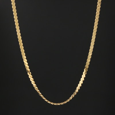 14K Yellow Gold Serpentine Link Chain