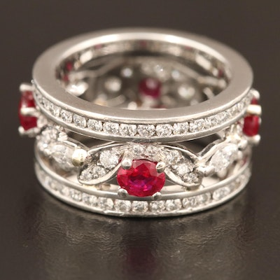 Platinum Ruby and 1.82 CTW Diamond Eternity Band