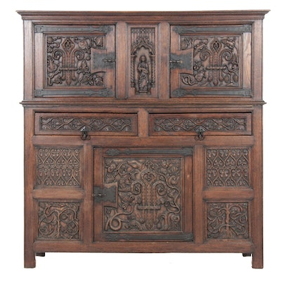 Gothic Revival Carved Oak Cabinet, Belgium, 20th Century