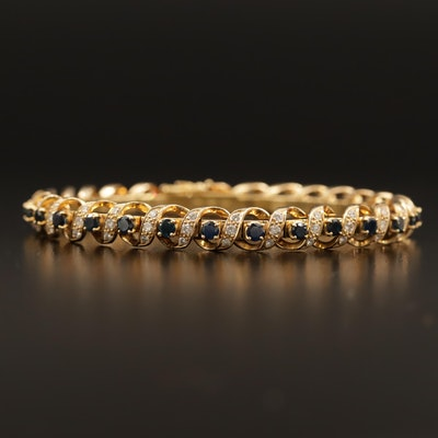 18K Sapphire and 1.60 CTW Diamond Bracelet