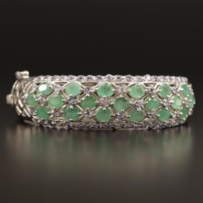 Sterling Silver Emerald and Tanzanite Hinged Bangle Bracelet
