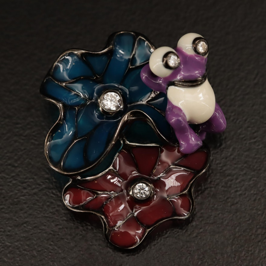 Sterling Cubic Zirconia Reclining Frog on Plique-A-Jour Style Flowers Brooch