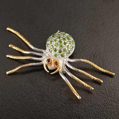 Sterling Chrome Diopside and Garnet Spider Brooch