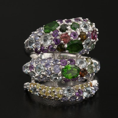 Sterling Silver Diopside, Amethyst and Garnet Coiled Ring