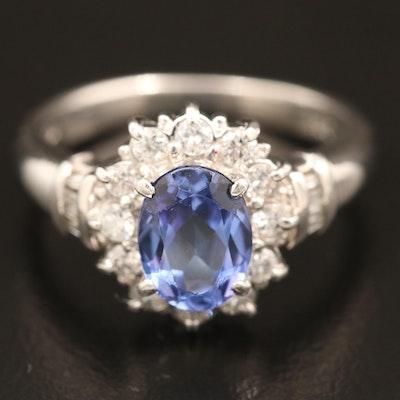 Platinum Tanzanite and Diamond Ring