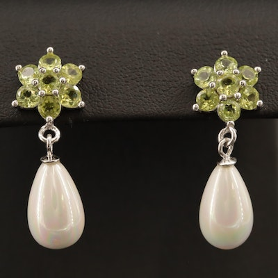 Sterling Silver Peridot Cluster with Faux Pearl Drop Earrings