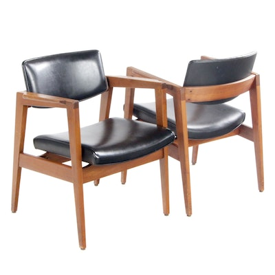 Pair of Gunlocke Mid Century Modern Walnut Armchairs