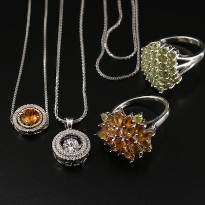 Sterling Silver Necklaces and Rings Featuring Peridot, Citrine, and Diamonds