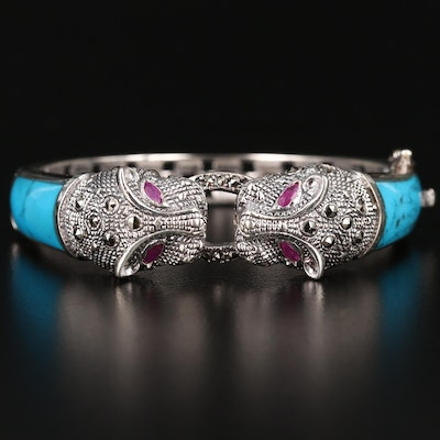 Sterling Silver Imitation Ruby and Marcasite Feline Motif Bracelet