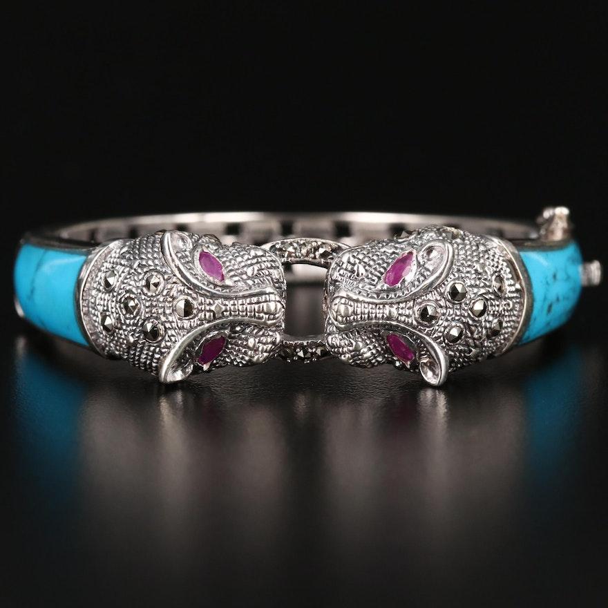 Sterling Silver Imitation Ruby and Marcasite Feline Motif Bracelet