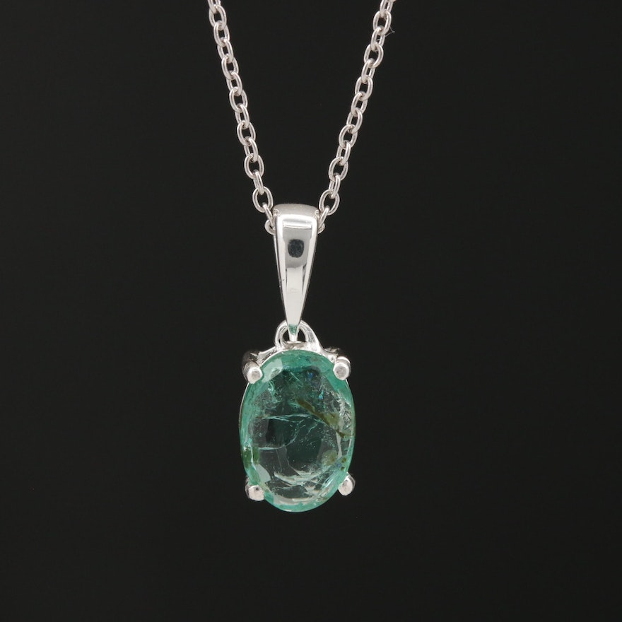 Sterling Emerald Pendant Necklace