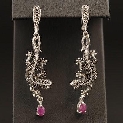 Sterling Silver Ruby and Marcasite Gecko Lizard Motif Dangle Earrings