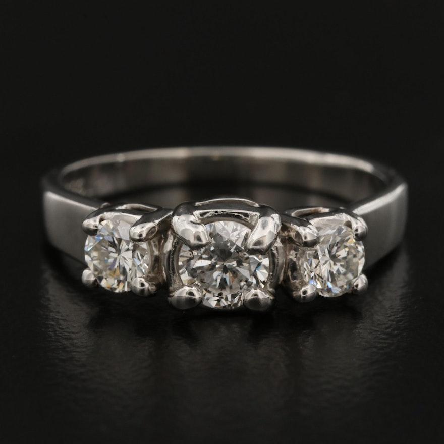 Platinum 0.79 CTW Diamond Ring