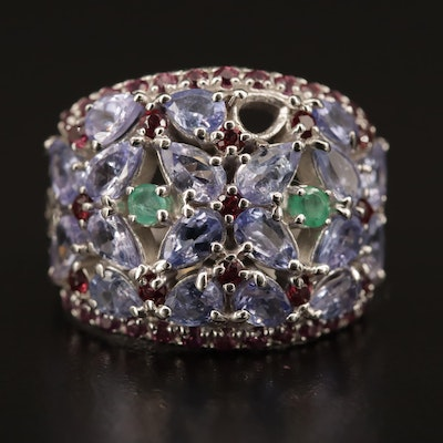 Sterling Silver Tanzanite, Emerald and Garnet Cluster Dome Ring