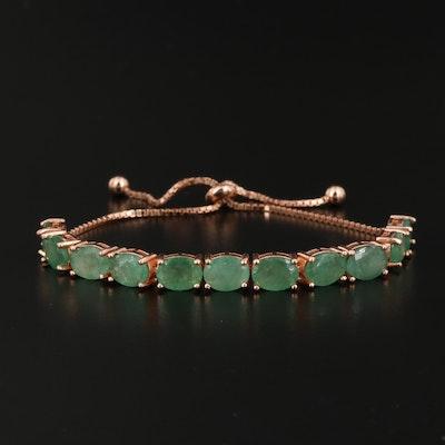 Sterling Silver Emerald Bolo Bracelet