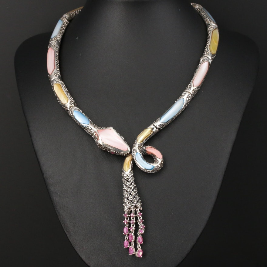 Sterling Silver Mother of Pearl, Marcasite and Ruby Snake Collar Necklace