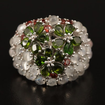 Sterling Silver Opal, Diopside and Garnet Floral Dome Ring