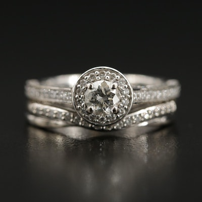 14K 1.10 CTW Diamond Ring with Diamond Shadow Band