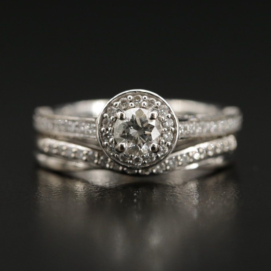 14K 1.10 CTW Diamond Ring with Diamond Shadow Band