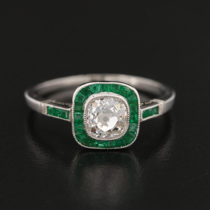 Art Deco Platinum Diamond and Emerald Halo Ring