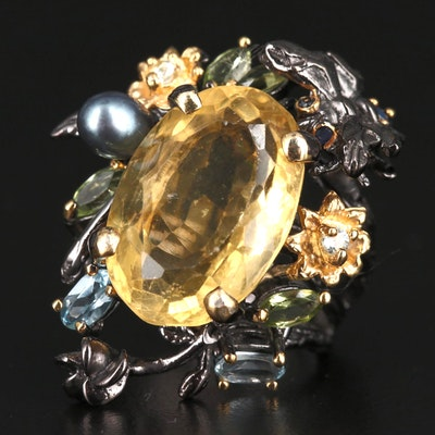Sterling Silver Citrine, Topaz and Pearl Ring
