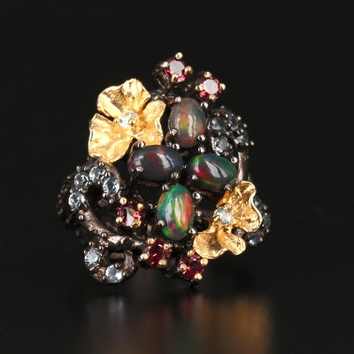 Sterling Silver Opal, Topaz and Garnet Ring