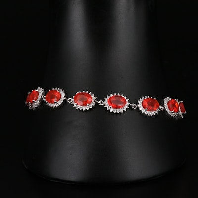 Sterling Silver Opal and Cubic Zirconia Link Bracelet