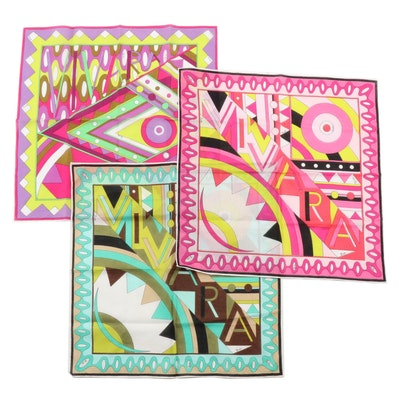 Emilio Pucci Abstract Multicolor Cotton Handkerchiefs, Vintage