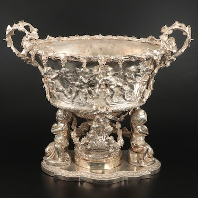 Baroque Style Monumental Silver Plate Wine Cistern