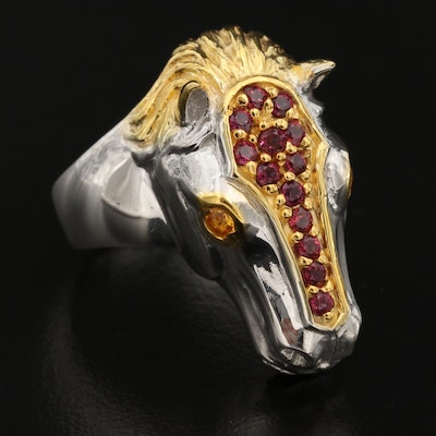 Sterling Silver Sapphire and Rhodolite Garnet Equestrian Ring