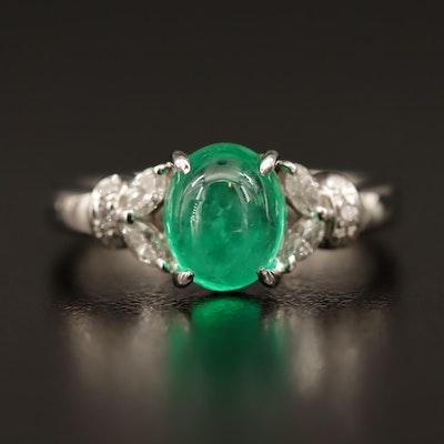 Platinum 1.72 CT Emerald and Diamond Ring