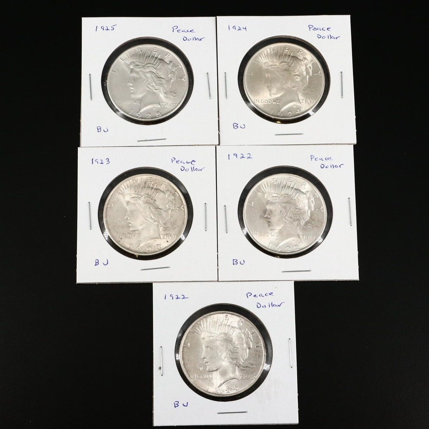 Five Uncirculated Peace Silver Dollars, 1922 to 1925