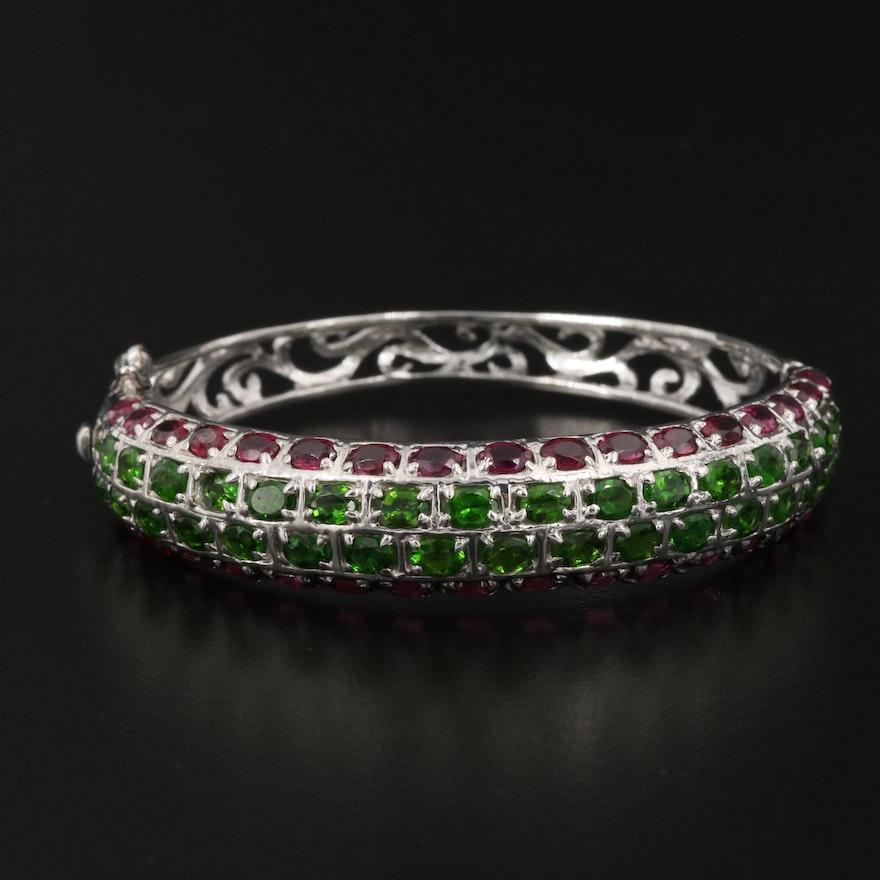 Sterling Silver Diopside and Rhodolite Garnet Hinged Bracelet