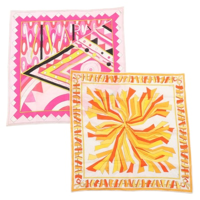 Emilio Pucci Orange and Pink Cotton Handkerchiefs for Saks Fifth Avenue, Vintage