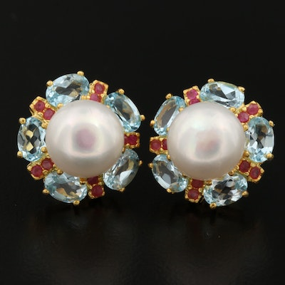 Sterling Silver Pearl, Topaz and Ruby Button Earrings