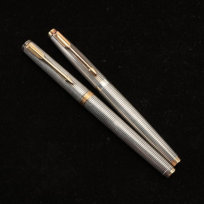 Parker 75 French Made Sterling Roller Ball and 14K Nib Sterling Fountain Pen