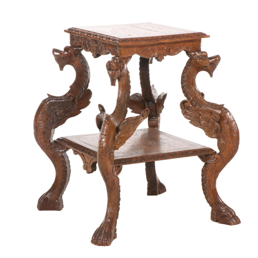 Chinese Carved Fruitwood Dragon Motif Side Table, Mid-20th Century