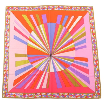 Emilio Pucci Geometric Multicolor Silk Scarf for Saks Fifth Avenue, 1960s