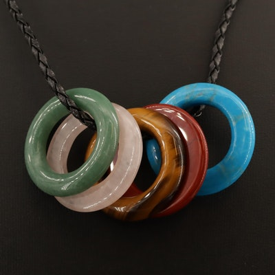 Multi-Colored Hololith Necklace with Sterling Clasp