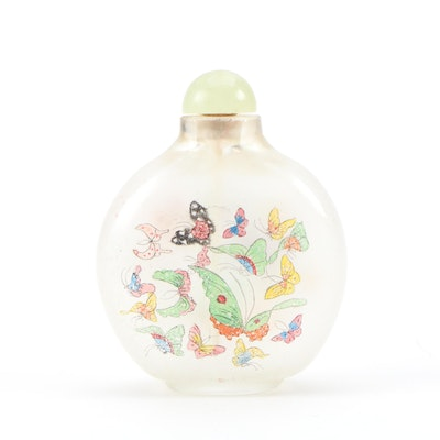 Chinese Reverse-Painted Glass Snuff Bottle with Butterfly Motif