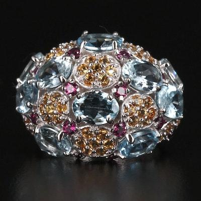 Sterling Silver, Aquamarine, Rhodolite Garnet and Sapphire Bombé Ring
