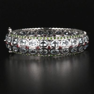Sterling Silver Aquamarine, Garnet and Diopside Openwork Bracelet