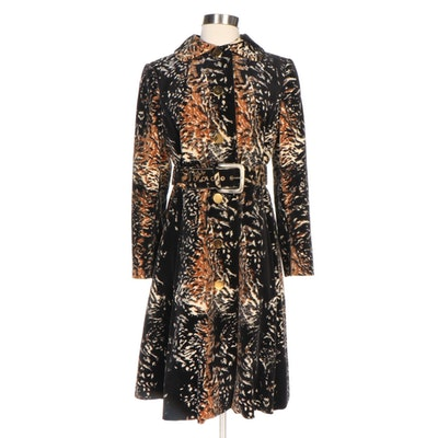Aquanala Abstract Animal Print Belted A-Line Coat, 1960s Vintage