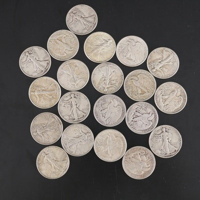 United States Silver Walking Liberty Half Dollars, Set of Twenty